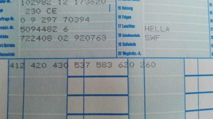 Mercedes Coupe C124 Datenkarte